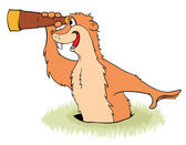 Groundhog Day Groundhog peeps out from its hole with a telescope in its claws Vector illustration