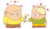 Grandpa gives flowers to my grandmother Sweetheart vector illustration