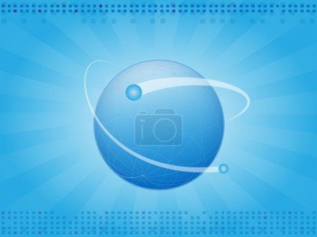 Illustration pour Abstrait bleu horizontal avec la planète Terre - image libre de droit
