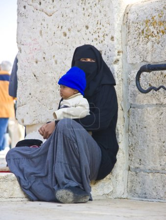 Female beggar on the Temple Mount, Jerusalem