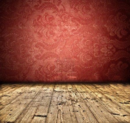 Photo pour Mur blanc vintage abstrait avec plancher en bois - image libre de droit