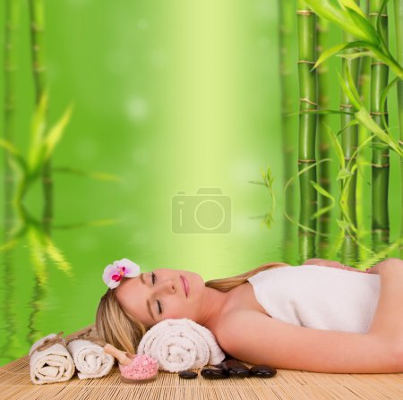 Photo for Beautiful blond woman relaxing, concept of wellness and spa - Royalty Free Image