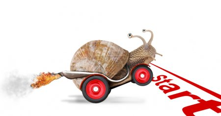 Photo for Speedy snail like car racer. Concept of speed and success. Wheels are blur because of moving. Isolated on white background - Royalty Free Image