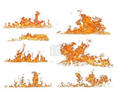 Foto de Colección de fuego de alta resolución aislada sobre fondo blanco - Imagen libre de derechos