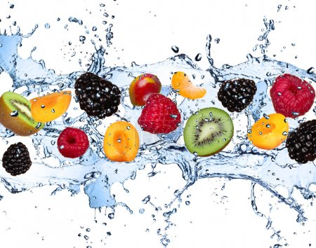 Fresh fruits falling in water splash, isolated on ...
