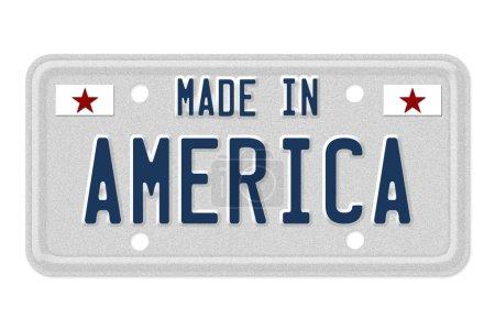 Photo pour Les mots fabriqués en Amérique en bleu sur la plaque d'immatriculation isolé sur blanc - image libre de droit