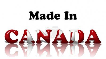 Photo pour Les mots fabriqués au canada dans les couleurs du drapeau canadien isolés sur blanc - image libre de droit