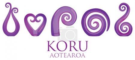 A set of glass Maori Koru curl ornaments.