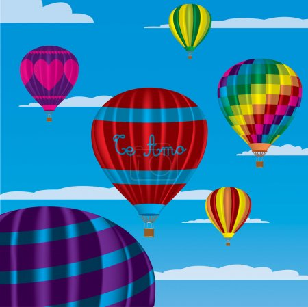 """Multi coloured hot air balloons with """"Te Amo"""" in vector format on a sky background."""