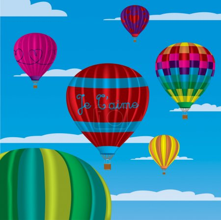"""Multi coloured hot air balloons with """"Je T'aime"""" in vector format on a sky background."""