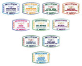 Passport stamps of major US airports in vector format