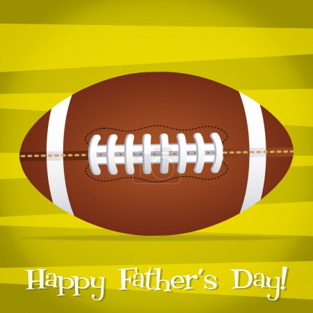 Bright Rugby ball Happy Father's Day card in vector format.