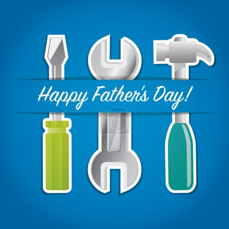 """Illustration for Paper cut out """"Happy Father's Day"""" tool card in vector format. - Royalty Free Image"""