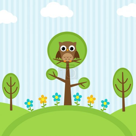 Illustration for Background with owl, flowers and trees - Royalty Free Image
