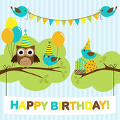 Vector birthday party card with cute birds and owl on trees