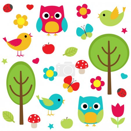 Photo for Vector set - owls, birds, flowers, butterflies, ladybugs etc. - Royalty Free Image