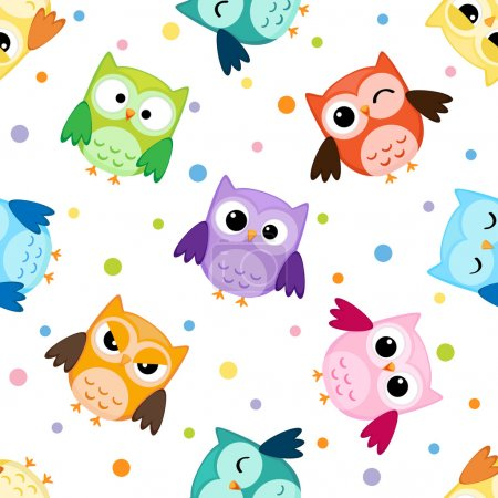 Photo for Seamless pattern with colorful owls - Royalty Free Image