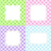 Set of 4 cute cards with gingham pattern