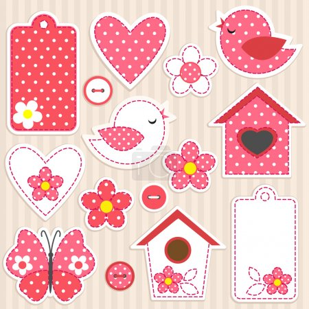 Photo for Vector scrapbook elements - love set - Royalty Free Image