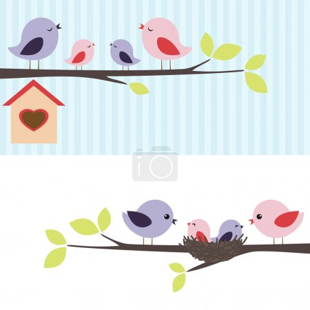 Illustration for Family of birds sitting on a branch. Two variations. - Royalty Free Image