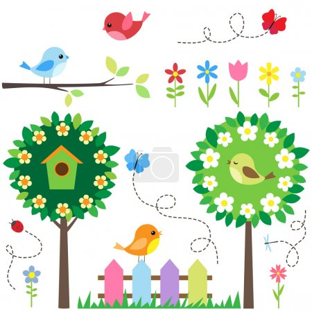 Illustration for Garden set with birds, blooming trees, flowers and insects. - Royalty Free Image