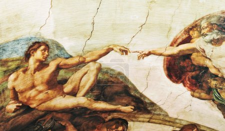 Foto de Rome, Italy - 30 March, 2012: Replica of The Creation of Adam painting by Michelangelo (a famous painting found on the ceiling of the Sistine Chapel) - Imagen libre de derechos