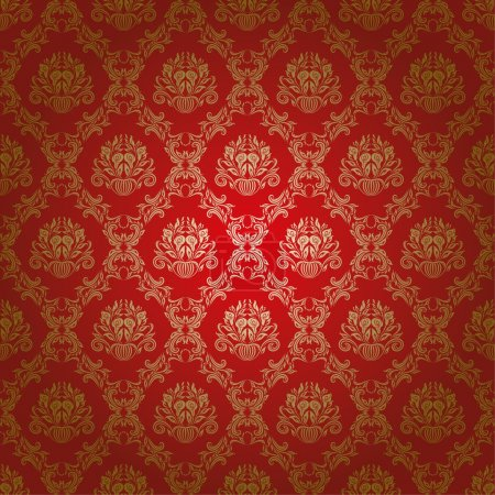Illustration for Damask seamless floral pattern. Flowers on a red background. EPS 10 - Royalty Free Image