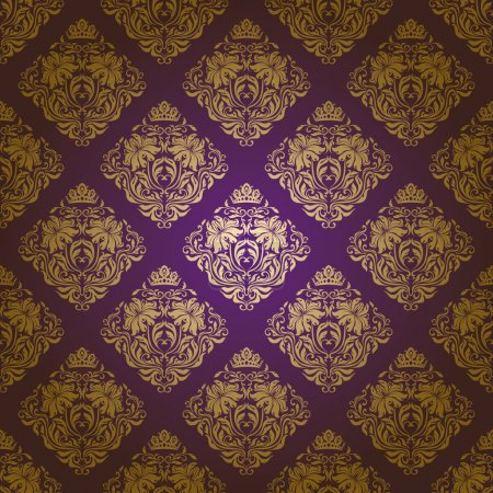Illustration for Seamless damask pattern. Flowers on a purple background. EPS 10 - Royalty Free Image