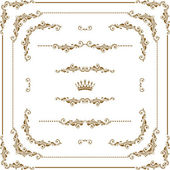 Vector set of decorative horizontal elements border and frame Basic elements are grouped