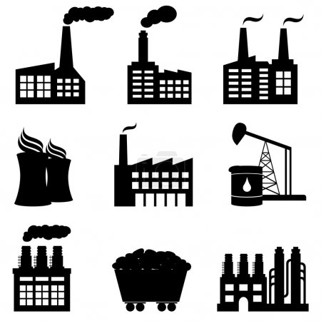 Illustration for Factory, oil drilling, nuclear power plant and energy icons - Royalty Free Image