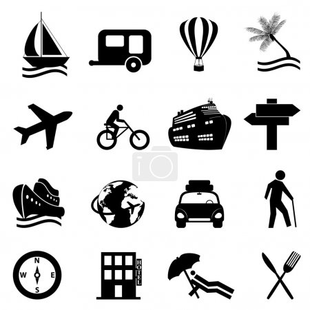 Illustration for Leisure, travel and recreation icon set on white background - Royalty Free Image
