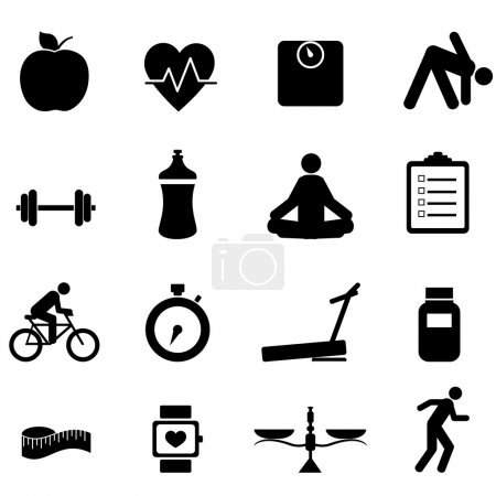 Illustration for Fitness and diet icon set in black - Royalty Free Image