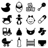 Baby icon set in black