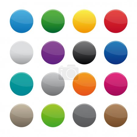 Illustration for Collection of blank round buttons in various colors - Royalty Free Image