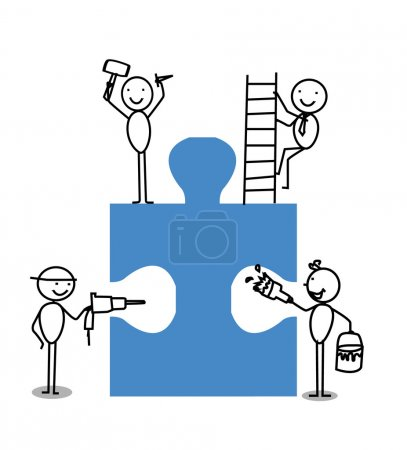 Businessman Teamwork Jigsaw