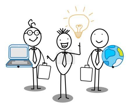Illustration pour Businessman Idea Équipe de travail avec le monde & Connexion - image libre de droit
