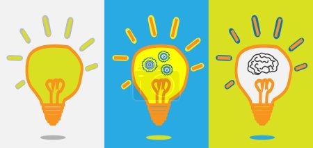 Idea lamp, gear progress, smart brain