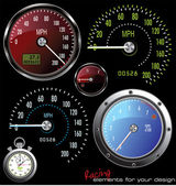 Set of vector Speedometer and Counter in miles and kilometers plus stopwatch vector