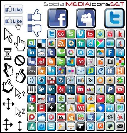 Illustration pour Jeu d'icônes de médias sociaux - image libre de droit
