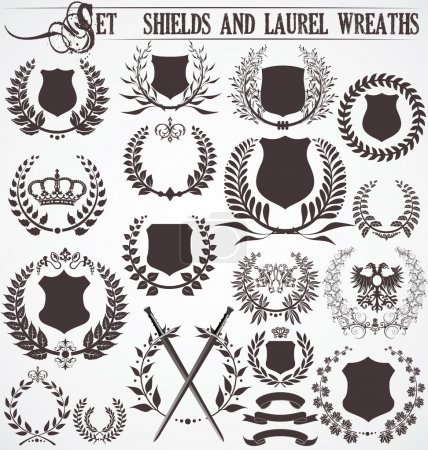 Photo for Set - shields and laurel wreaths - Royalty Free Image