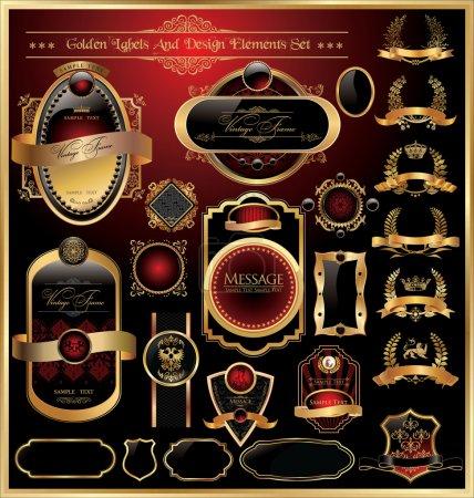 Ilustración de Vector conjunto de etiqueta recargado decorativa enmarcado de lujo oro - Imagen libre de derechos