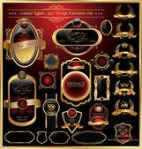 Vector set of golden luxury framed decorative ornate label