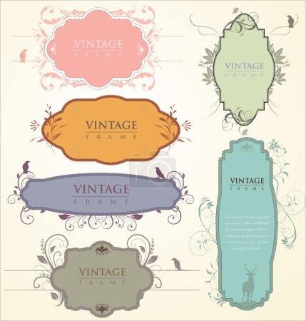 Ilustración de Conjunto de vectores: etiquetas de colores con los elementos - Imagen libre de derechos