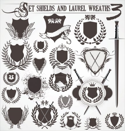 Set - shields and laurel wreaths 3