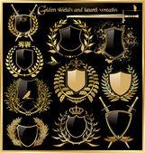 Goldene Schilde und Lorbeer wreaths