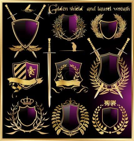 Golden shield and laurel wreath set