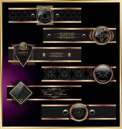 Ilustración de Vector conjunto de vendimia etiquetas enmarcadas de negras y rosas - Imagen libre de derechos