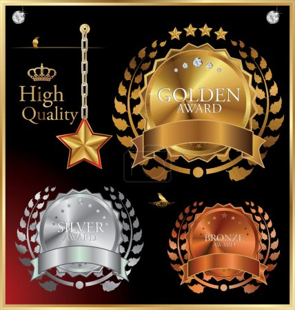 Golden Collection From Crowns, Medals, Laurel wreath And star