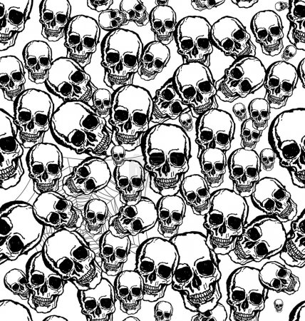 Hand drawn Skull seamless background
