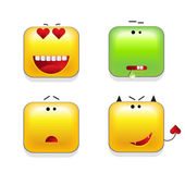 Square shaped yellow Smileys vector icon set